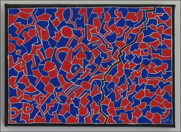 Diagonale brisée bleu-rouge