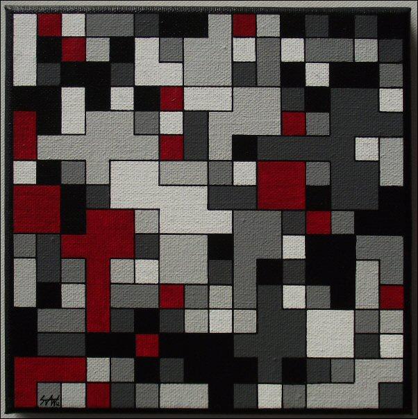 Pixels gris-rouge