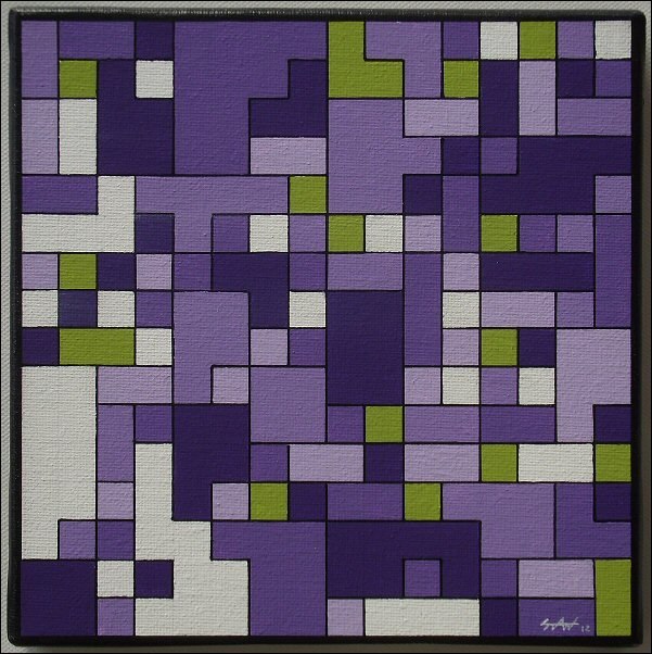 Pixels violet-vert