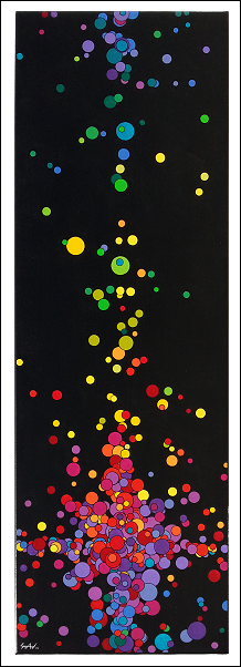 Acrylique et encre de Chine sur toile 30x90 cm